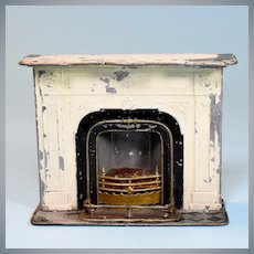 "Antique Cast Metal Dollhouse Fireplace Late 1800s 1"" Scale"