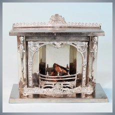 "Antique Dollhouse Nickel-Plated Tin Fireplace Early 1900s 1"" Scale"