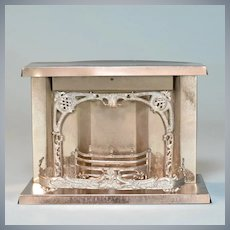 """Antique Dollhouse Nickel-Plated Tin Fireplace Early 1900s 1"""" Scale"""