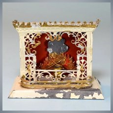 """German Dollhouse Tin and Soft Metal Fireplace 1920s – 1930s Small 1"""" Scale"""