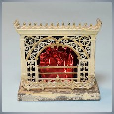 """German Dollhouse Fireplace in Soft Metal & Tin 1920s – 1930s 3/4"""" Scale"""