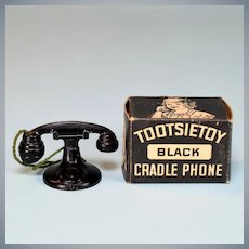 "Black Tootsie Toy Dollhouse Telephone with Box 1920s – 1930s 1-1/2"" Scale"