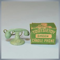 "Green Tootsie Toy Dollhouse Telephone with Box 1920s – 1930s 1 1/2"" Scale"