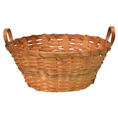 """Antique Woven Reed Laundry Basket Large 1"""" Scale"""