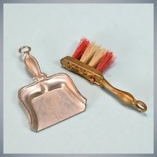 """Antique German Dollhouse Pewter Dust Pan and Gilt Metal Broom 1910 1"""" Scale"""