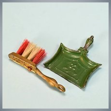 "Antique German Dollhouse Green Pewter Dust Pan and Gilt Metal Broom 1910 1"" Scale"