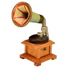 "Antique German Miniature Gramophone 1920s – 1930s 1"" Scale"