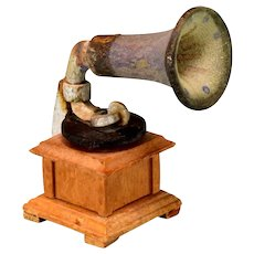 "Antique German Dollhouse Gramophone 1920s – 1930s 1"" Scale"
