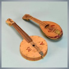 "Pair of Vintage Mexican Dollhouse Stringed Instruments Large 1"" Scale"