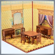"7 Pc. Strombecker Deluxe Dollhouse Dining Room Set –  Walnut 1935 – 1936 1"" Scale"