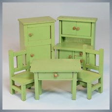 "5 Pc. Schoenhut Dollhouse Green Kitchen Set 1928 -1930 3/4"" Scale"
