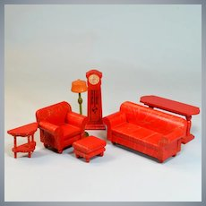 "Mint 7 Pc. Strombecker Colorful Dollhouse Living Room Set Red Swirls 1932 – 1933 1"" Scale"