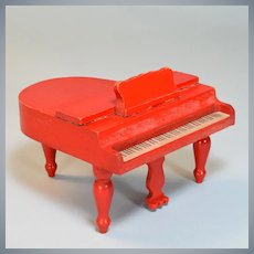 "Strombecker Dollhouse Baby Grand Piano - Red 1932 1"" Scale"