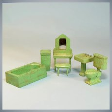 "6 Pc. Strombecker Colorful Dollhouse Bathroom Set Green Swirls 1932 – 1933 1"" Scale"