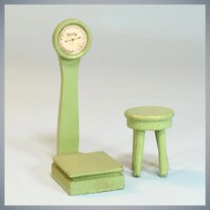 "Antique Dollhouse Bathroom Scale and Stool by Menasha Woodenware Corp. 1935 - 1936 1"" Scale"