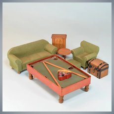 """Man Cave Dollhouse Furnishings Strombecker & Others 1930s 1"""" Scale"""