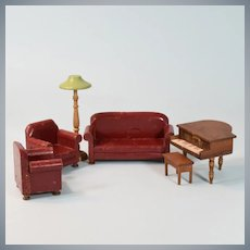 "Schoenhut 6 Pc. Modern Parlor Suite Maroon 1931 3/4"" Scale"