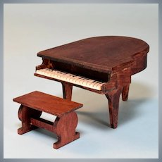 """Schneegas Red Stained Dollhouse Piano and Bench 1920s Small 1"""" Scale"""