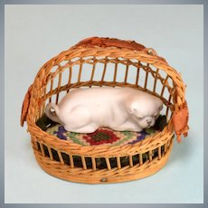 """Antique Dollhouse Wicker Dog Bed with Bisque Dog Early 1900s Large 1"""" Scale"""