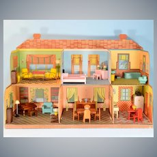 "Strombecker Open Front 6 Room Dollhouse 1942 3/4"" Scale"