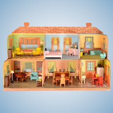 """Strombecker Open Front 6 Room Dollhouse 1942 3/4"""" Scale"""