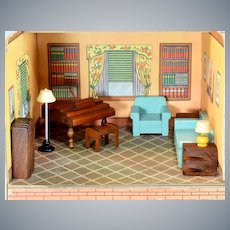 "Strombecker Dollhouse 9 Pc. Wooden Living Room Set Mid 1930s – Mid 1940s 3/4"" Scale"