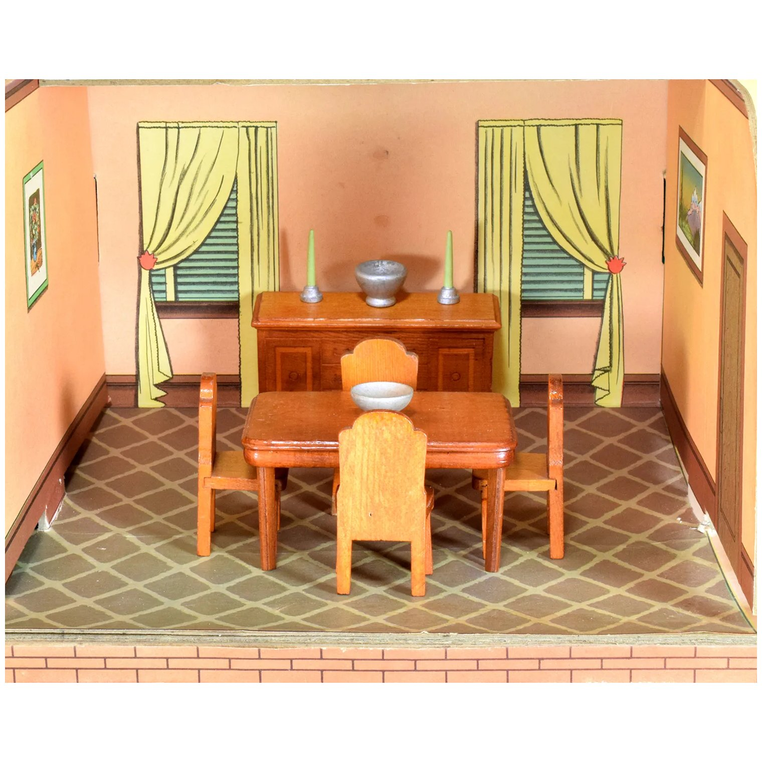 Strombecker Dollhouse 10 Pc. Dining Room Set 1942 3/4 Scale