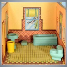 "Strombecker Dollhouse 5 Pc. Bathroom Set Mid 1940s 3/4"" Scale"