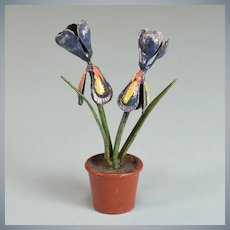 "Antique Miniature Vienna Bronze Flowers – Iris in Pot Early 1900s 1"" Scale"
