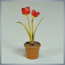 "Antique Miniature Vienna Bronze Flowers – Tulips in Pot Early 1900s 1"" Scale"