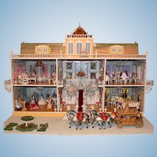 """Rare Bavarian Spielwaren Doll Castle Herrenchiemsee by Szalasi 1960s – 1970s Large 1"""" Scale"""