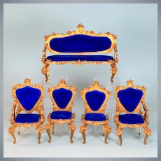 "5 Pc. Spielwaren Dollhouse Gilt Wood Salon Suite Royal Blue by Szalasi 1950s – 1980s Large 1"" Scale"