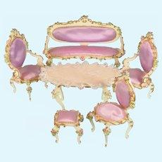 """5 Pc. Spielwaren Dollhouse Wooden Salon Suite Lavender Satin by Szalasi 1950s – 1980s Large 1"""" Scale"""
