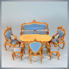 "Spielwaren 6 Pc. Dollhouse Gilt Wood French Blue Velvet Salon Suite by Szalasi 1950s – 1980s Large 1"" Scale"