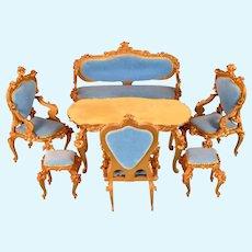"""Spielwaren 6 Pc. Dollhouse Gilt Wood French Blue Velvet Salon Suite by Szalasi 1950s – 1980s Large 1"""" Scale"""