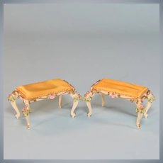 "Pair of Spielwaren Dollhouse Benches by Szalasi with Gold Satin Cushions 1950s – 1980s Large 1"" Scale"