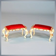 "Pair of Spielwaren Dollhouse Benches by Szalasi with Red Satin Cushions 1950s – 1980s Large 1"" Scale"