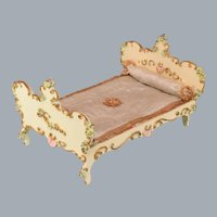 "Spielwaren Dollhouse Wooden Bed by Szalasi 1950s – 1980s Large 1"" Scale"