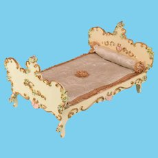 """Spielwaren Dollhouse Wooden Bed by Szalasi 1950s – 1980s Large 1"""" Scale"""