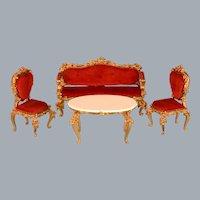 "3 Pc. Spielwaren Dollhouse Gilt Wood Salon Suite Red Velveteen by Szalasi 1980s 1"" Scale"