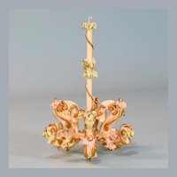 "Spielwaren Dollhouse Wooden 6 Arm Chandelier by Szalasi 1950s – 1980s Large 1"" Scale"