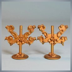 "Pair of Spielwaren Dollhouse Gilt Wood 2 Arm Candelabras by Szalasi 1950s – 1980s Large 1"" Scale"