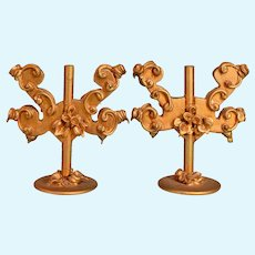 """Pair of Spielwaren Dollhouse Gilt Wood 2 Arm Candelabras by Szalasi 1950s – 1980s Large 1"""" Scale"""