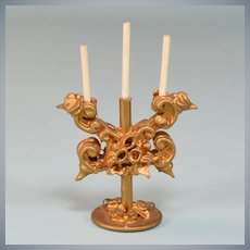 "Spielwaren Dollhouse Gilt Wood 2 Arm Candelabra by Szalasi 1950s – 1980s Large 1"" Scale"