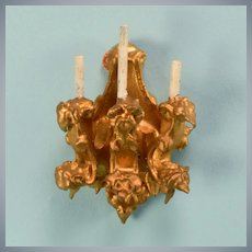 "Spielwaren Dollhouse Gilt Wood 3 Arm Wall Sconce by Szalasi 1950s – 1980s Large 1"" Scale"