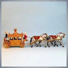 """Spielwaren Miniature Horse Drawn Coronation Coach by Szalasi 1950s – Early 1960s Large 1"""" Scale"""