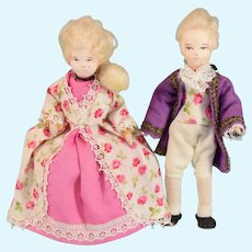 "Erna Meyer George and Martha Washington Dollhouse Dolls 1950s – early 1960s Small 1"" Scale"
