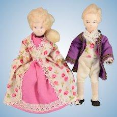"Erna Meyer George and Martha Washington Dollhouse Dolls 1950s – early 1960s Small 1"" Scale"