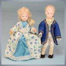 """George and Martha Washington Dollhouse Dolls by Erna Meyer 1950s – early 1960s Small 1"""" Scale"""