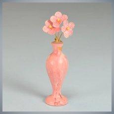 "Spielwaren Pink Marbleized Vase by Szalasi 1950s – 1980s Large 1"" Scale"